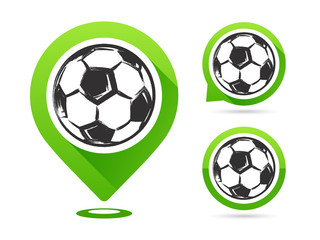Football vector icons isolated on white. Football goal. Set of football icons. Football map pointer. Soccerl ball.