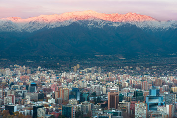 Panoramic view of Providencia district with Los Andes Mountain Range in the back, Santiago de Chile
