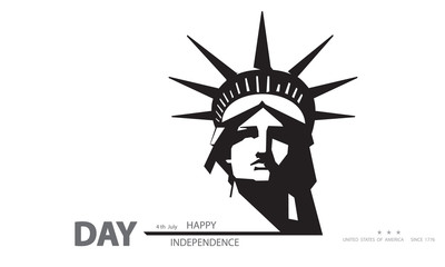 Independence Day USA New York Sculpture. Black and white. Statue of Liberty. National Symbol of America. Illustration, white background. Presentation, corporate report, postcard, logo, banner, vector