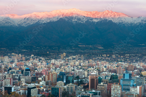 panoramic view of providencia district with los andes mountain range