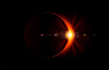 Solar eclipse. Bright flare on the moon edge