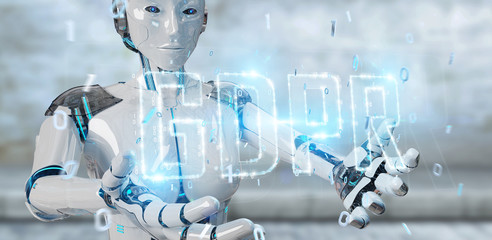 White cyborg woman using digital GDPR interface 3D rendering