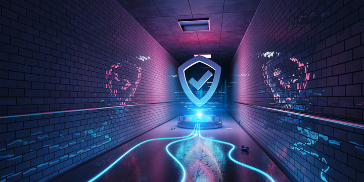 Underground cyber security hologram with digital shield 3D rendering