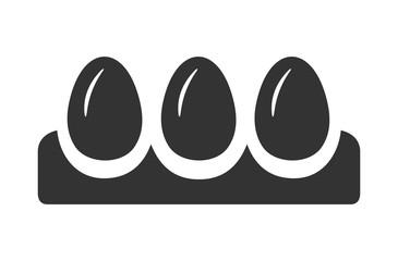 Яйца в лотке, иконка. Черно белый плоский дизайн.