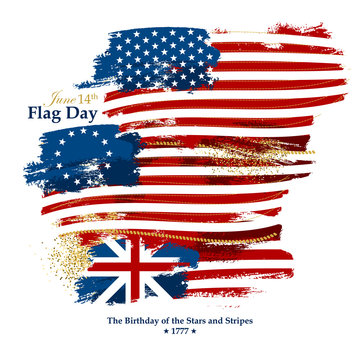 Flag Day card with american flags