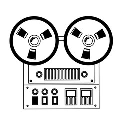 reel to reel tape recorder audio retro device vector illustration