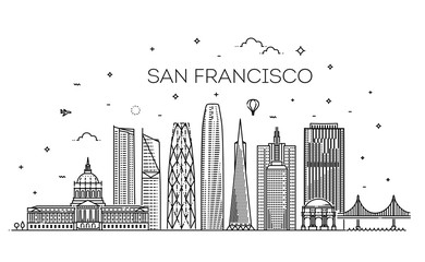 San Francisco city skyline vector background