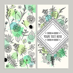 Set template cards with flowers and herbs. Freehand drawing. Can be used for scrapbook, banners, print, etc.