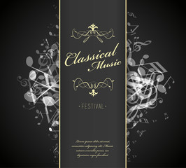Classical music festival advertising poster template with tunes.