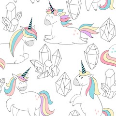 Vector seamless pattern with Magic cute unicorns and crystals.