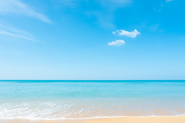 Beautiful white clouds on blue sky over calm sea background.