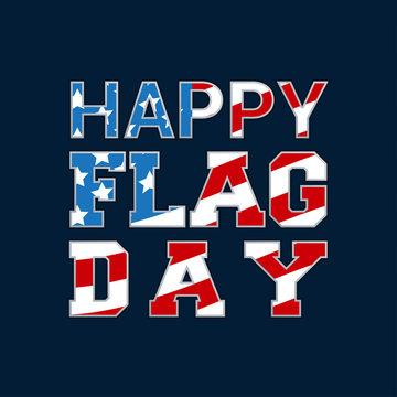 Happy Flag Day card vector illustration. USA Flag inside character