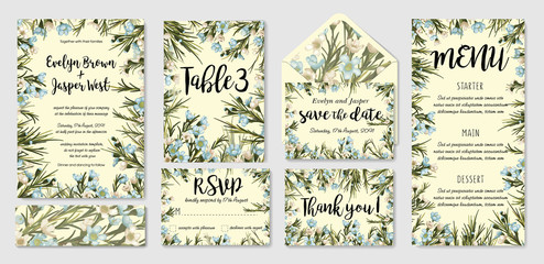Wedding invite, menu, rsvp, thank you label save the date card envelope. Design with white and blue wax flowers, green leaves. Vector cute rustic