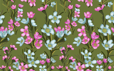 Wide vintage seamless background pattern. Blue and pink wax wild flowers with leaf. Abstract, hand drawn
