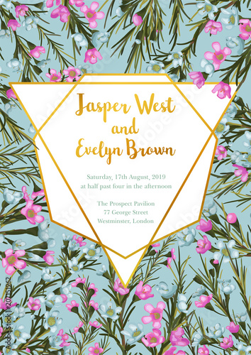 Wedding Invitation Floral Invite Card Design Blue And Pink Wax