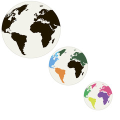 Three globes of different colors