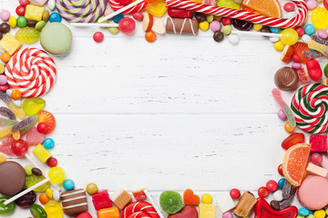 Photo sur Aluminium Confiserie Colorful sweets. Lollipops and candies