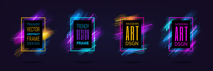 Vector modern frames with dynamic neon glowing lines isolated on black background. Art graphics with laser effect. Design element for business cards, gift cards, invitations, flyers, brochures. Wall mural