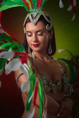 Photo Blinds Carnaval Beautiful woman in carnival costume.