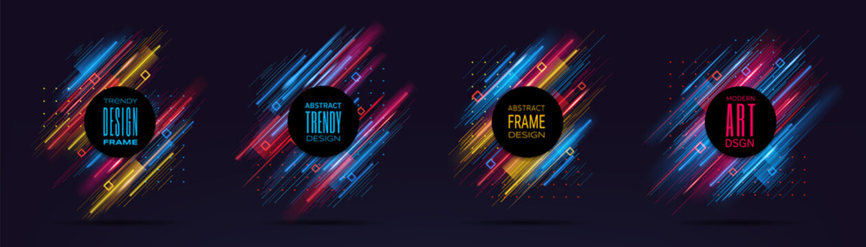 Vector modern frames with dynamic neon glowing lines isolated on black background. Art graphics with glitch effect. Design element for business cards, gift cards, invitations, flyers, brochures.