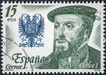 stamp printed by Spain shows image portrait of King Carlos I