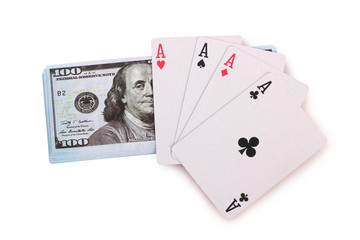 Cards and dollars for casino with on white background