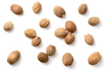 Fototapeta whole nutmeg isolated on white obraz