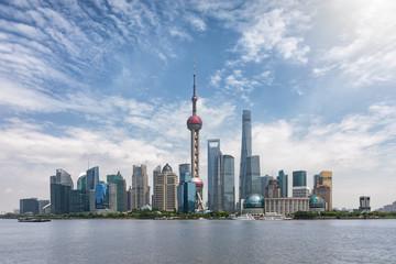 Das Zentrum von Shanghai, Pudong, an einem sonnigen Tag im Frühling, China