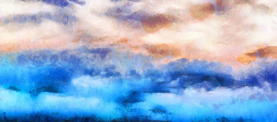 watercolor painting abstract sky, clouds background;