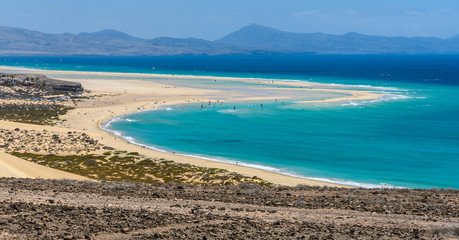 Aerial view of the lagoon on Sotavento Beach in Fuerteventura, Spain