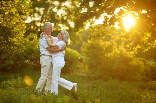 beautiful senior couple dancing