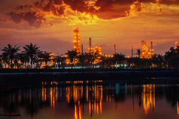 Oil and gas refinery industrial at night