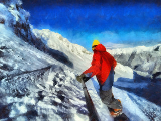 Man rides on a snowboard, among the blue mountains. Take a selfie. Watercolor Painting.