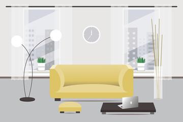 Living room design. Flat style.