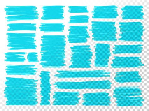 Marker scribbles. Realistic marker strokes. Business. Doodle. Scrawl. Notebook. Highlighter. Sketches set. Blue lines. Business elements set.