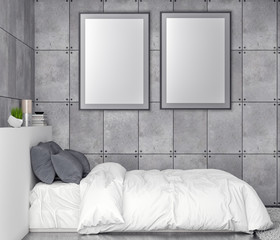 Mock up poster frame in bedroom interior background and concrete wall, 3D illustration