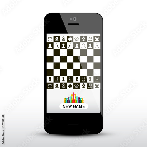 Chess Game App on Mobile Phone  Chessboard on Application Smartphone