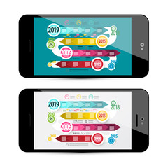 Vector Timeline Infographoc on Mobile Phone Screen. Online Infographics Design.