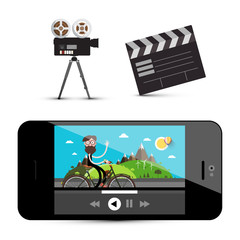 Movie Player on Smartphone, Camera and Clapper Board Isolated on White Background. Media Icons.