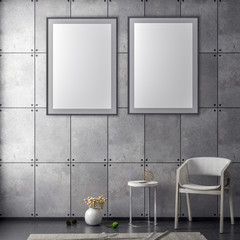 Mock up poster frame in hipster interior background and concrete wall, 3D illustration