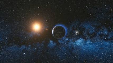 Wall Mural - Sunrise view from space on Planet Earth and Moon rotating in space. Blue sky Milky Way with thousand stars in the background. Astronomy and science concept. Elements of image furnished by NASA