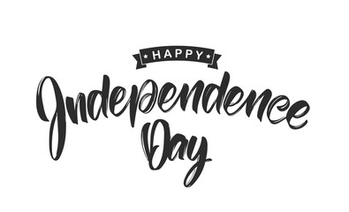 Vector illustration: Handwritten calligraphic lettering of Happy Independence Day on white background. Fourth of July.