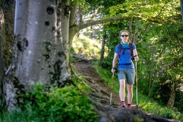 Woman hiking on Nockstein Mountain, Salzburg, Austria
