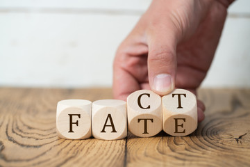 "Hand is flipping cubes with letters, showing how clode ""fact"" and ""fate"" are"