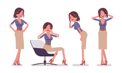 Sexy secretary in tempting poses