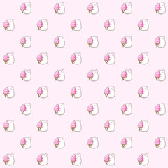 Pattern based on my kawaii illustration of a cute fat white cat enjoying a huge sweet strawberry ice cream cone over a pink background.