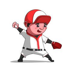 Cartoon baseball player throwing the ball. Pitcher vector illustration isolated on white.