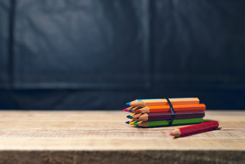 Color group of pencil on wood table