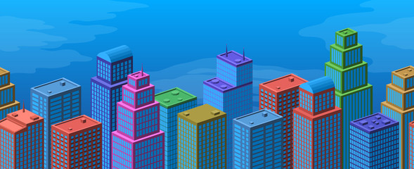 Background with View of Megapolis City. Horizontal Seamless Urban Landscape with Colorful Cartoon Skyscrapers and Bright Blue Sky. Eps10, Contains Transparencies. Vector