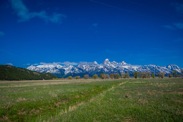 Beautiful landscape of the Grand Tetons range and peaks located inside the Grand Teton National Park, Wyoming, United States of America USA